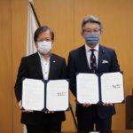 写真左より、中島UR都市機構理事長、武田内閣府特命担当大臣(防災)