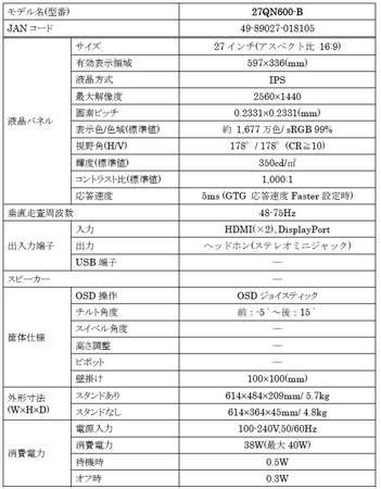 FHDの約1.8倍の作業領域で画面をもっと有効に WQHD の27インチIPSモニター「27QN600-B」を11月28日(土)より全国で順次発売